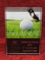 TROFEO DE GOLF EN CRISTAL RECTANGULAR